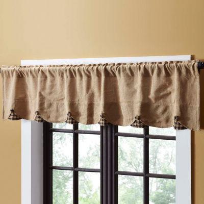 Primitive Window Burlap Check Scalloped Valance