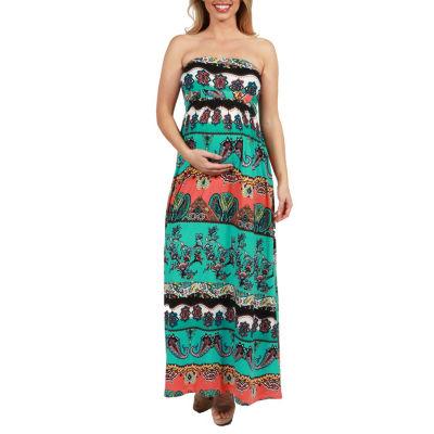 24Seven Comfort Apparel Bethany Strapless Empire Waist Maternity Maxi Dress