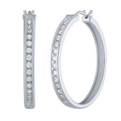 1/2 CT. T.W. Genuine White Diamond Sterling Silver 30mm Hoop Earrings