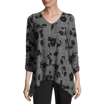 Alyx Womens V Neck 3/4 Sleeve Knit Blouse