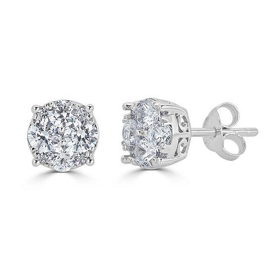 Grand Round 1 CT. T.W. Genuine White Diamond 14K White Gold 7.1mm Stud Earrings