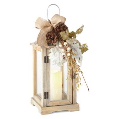 JCPenney Home Platinum Leaves Led Decorative Lantern