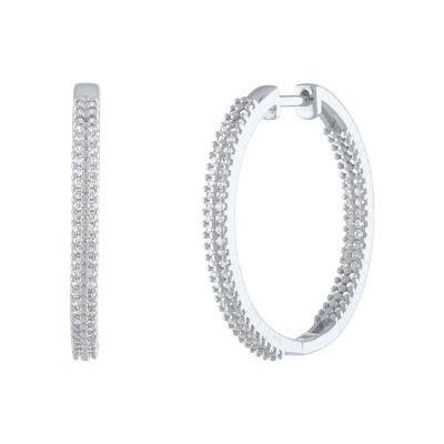 1/2 CT. T.W. Genuine White Diamond Sterling Silver 28.2mm Hoop Earrings