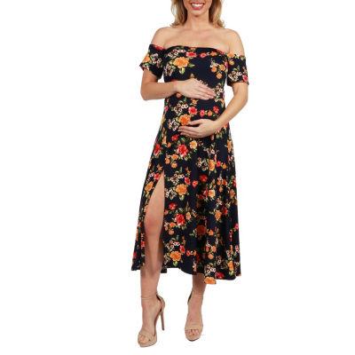 24Seven Comfort Apparel Eleanor Floral Side Slit Maternity Dress