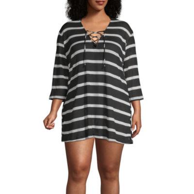 Porto Cruz Stripe Knit Swimsuit Cover-Up Dress-Plus
