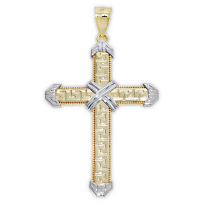 Womens 14K Two Tone Gold Cross Pendant