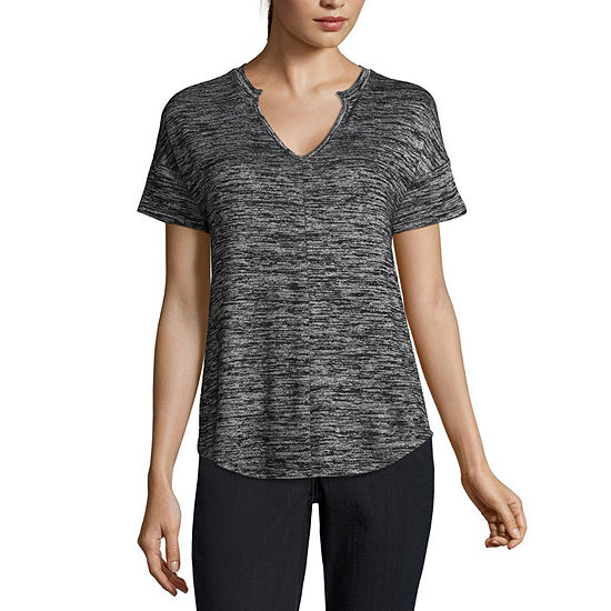 a.n.a Short Sleeve Notch Neck Top - Tall