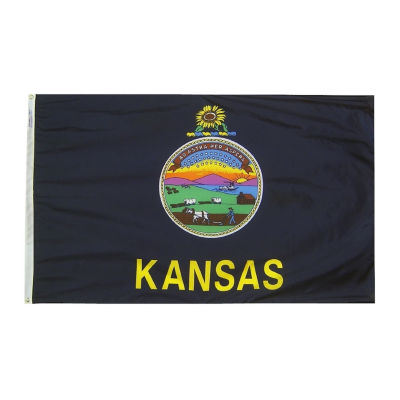 Kansas State Flag 3x5 ft. Nylon SolarGuard Nyl-Glo100% Made in USA to Official State Design Specifications by Annin Flagmakers.  Model 141860
