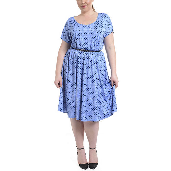 NY Collection Polka Dot Dress with Contrasting Belt - Plus