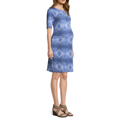 Elbow Sleeve Keyhole Back Knit Dress - Maternity