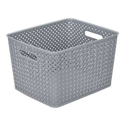Resin Wicker Storage Tote Grey-Large 13.75 X 11.50 X 8.75- Basket Weave