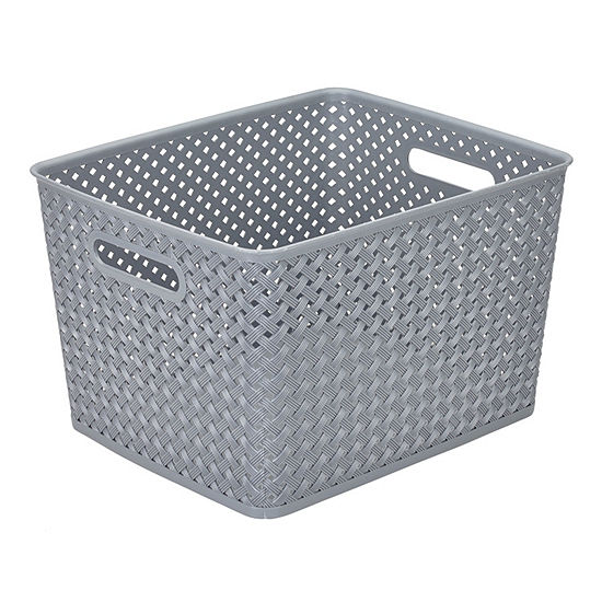 Resin Wicker Storage Tote Grey-Large 13.75 X 11.50 X 8.75- Basket Weave