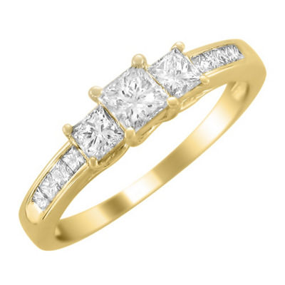 Love Lives Forever Womens 1 CT. T.W. White Diamond 14K Gold 3-Stone Ring