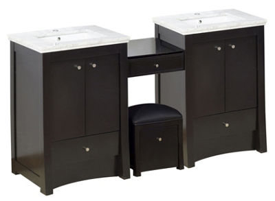84.75-in. W Floor Mount Distressed Antique WalnutVanity Set For 1 Hole Drilling Bianca Carara Top White UM Sink