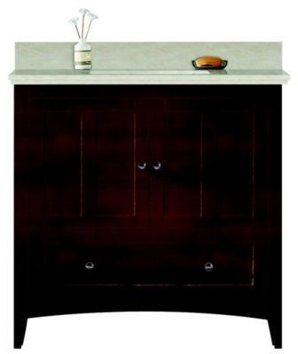 36-in. W Floor Mount Walnut Vanity Set For 1 HoleDrilling Beige Top Biscuit UM Sink