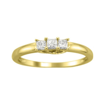 Love Lives Forever Womens 1/4 CT. T.W. Princess White Diamond 14K Gold 3-Stone Ring