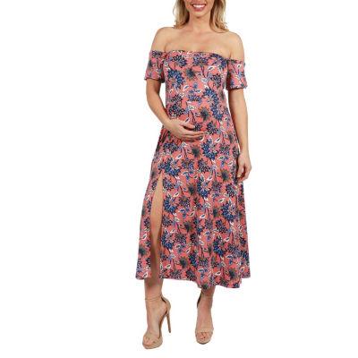 24Seven Comfort Apparel Nina Floral Maternity Side Slit Dress