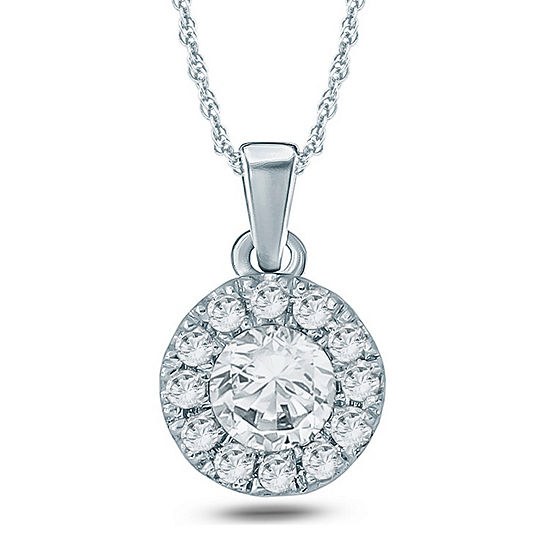 Womens 1 5 Ct Tw Genuine White Diamond 10k Gold Pendant Necklace