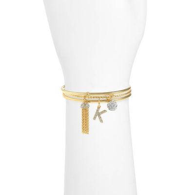 Liz Claiborne Clear Gold Tone Bangle Bracelet