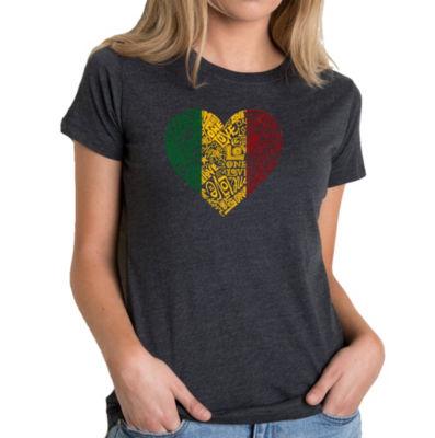 Los Angeles Pop Art Women's Premium Blend Word ArtT-shirt - One Love Heart