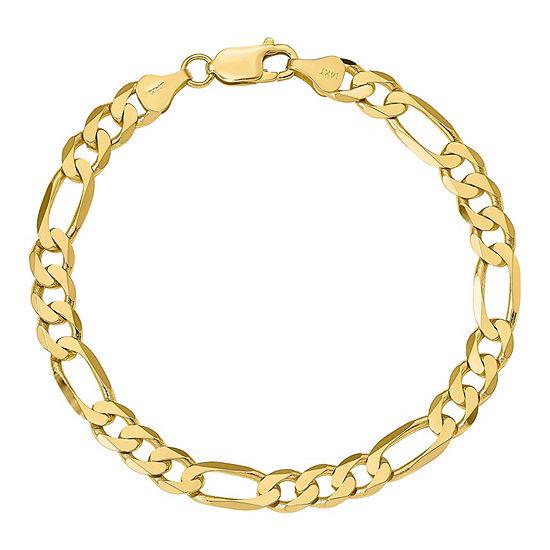 14K Gold 7 Inch Solid Figaro Chain Bracelet