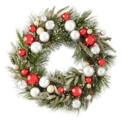 North Pole Trading Co. Red And Gold Pine Christmas Wreath