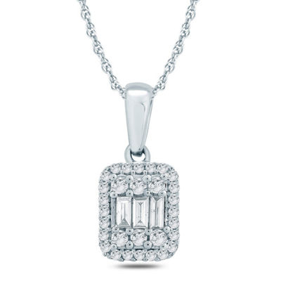 Womens 1/5 CT. T.W. White Diamond 10K Gold Pendant Necklace