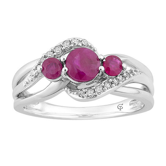 Womens 1/10 CT. T.W. Lead Glass-Filled Red Ruby 10K White Gold Cocktail Ring