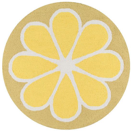 Novogratz By Momeni Cucina Lemon Hooked Round Indoor Rugs
