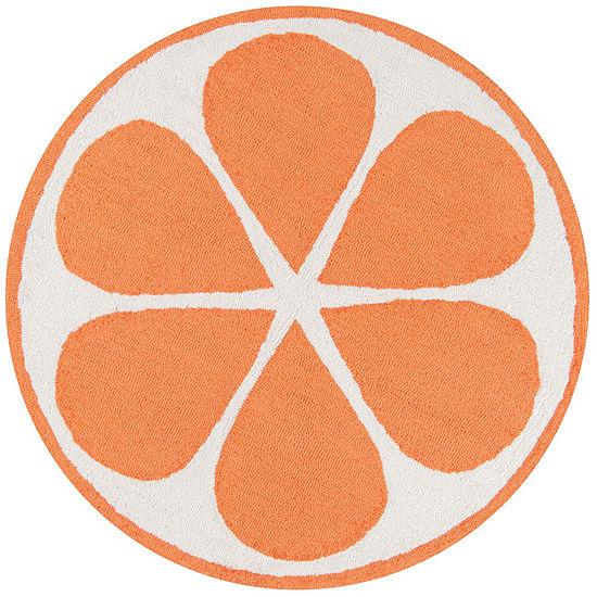 Novogratz By Momeni Cucina Orange Hooked Round Indoor Rugs