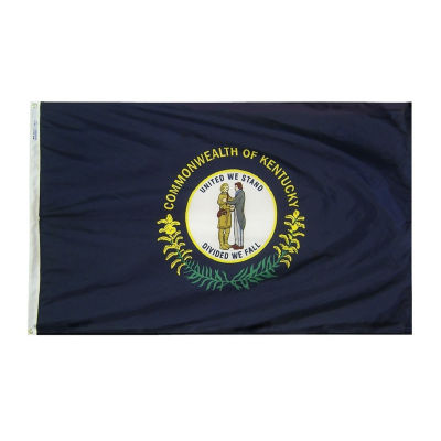 Kentucky State Flag 5x8 ft. Nylon SolarGuard Nyl-Glo 100% Made in USA to Official State Design Specifications by Annin Flagmakers.  Model 141980