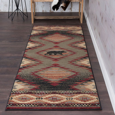 Tayse Expedition Wildlife Novelty Lodge Runner Rug
