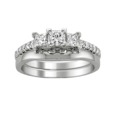 Love Lives Forever Womens 1 CT. T.W. White Diamond 14K White Gold 3-Stone Ring