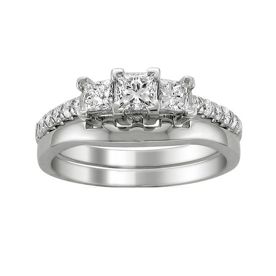 Love Lives Forever Womens 1 CT. T.W. Genuine White Diamond 14K White Gold 3-Stone Bridal Set
