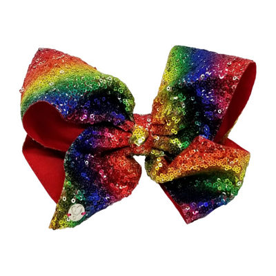 JoJo Siwa Large Signature Hair Bow w/Sequins Rainbow