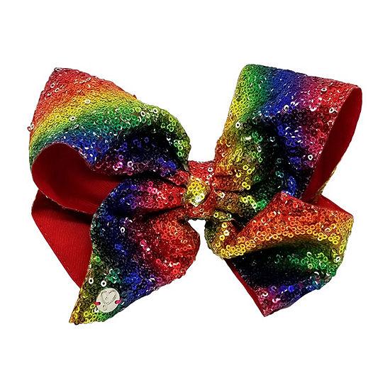 JoJo Siwa Large Signature Hair Bow w/Sequins Rainbow