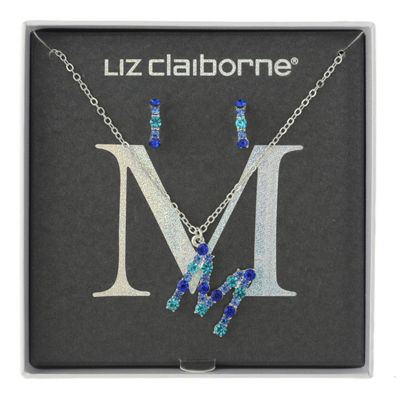 Liz Claiborne Blue Silver Tone 2-pc. Jewelry Set