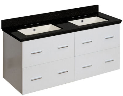 47.5-in. W Wall Mount White Vanity Set For 3H8-in.Drilling Black Galaxy Top Biscuit UM Sink