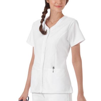 White Swan Fundamentals Womens V Neck Scrub Top - Plus