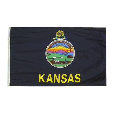 Kansas State Flag 5x8 ft. Nylon SolarGuard Nyl-Glo100% Made in USA to Official State Design Specifications by Annin Flagmakers.  Model 141880