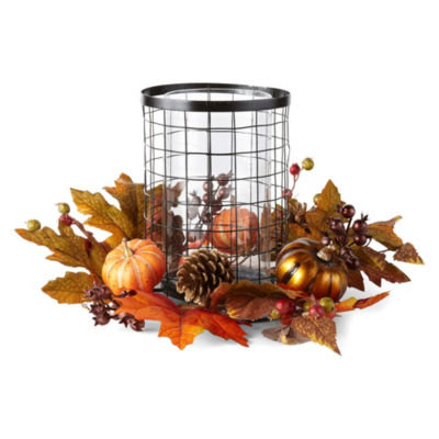 JCPenney Home Metalllic Pumpkin Hurricane Tabletop Decor