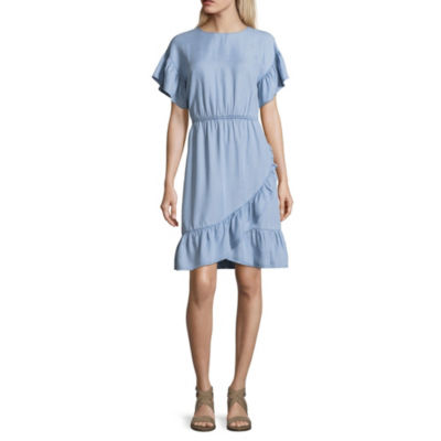 a.n.a Ana Ruffle Dress Short Sleeve Shift Dress