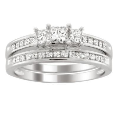 Love Lives Forever Womens 1 CT. T.W. White Diamond 14K Gold 3-Stone Ring