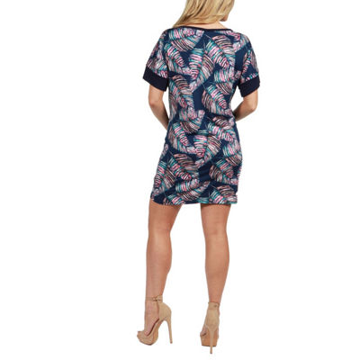 24Seven Comfort Apparel Taylor Feather Print Maternity Mini Dress - Plus