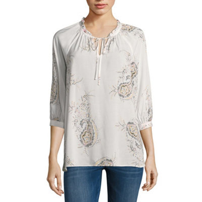 a.n.a 3/4 Sleeve Floral Peasant Top