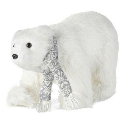 North Pole Trading Co. 8 Inch Fairisle Knit Polar Bear Animal Figurine