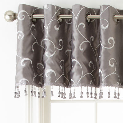 JCPenney Home Plaza Embroidery Grommet-Top Tailored Valance