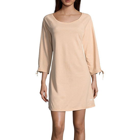 Copper Fit Womens Knit Nightshirt Long Sleeve Boat Neck