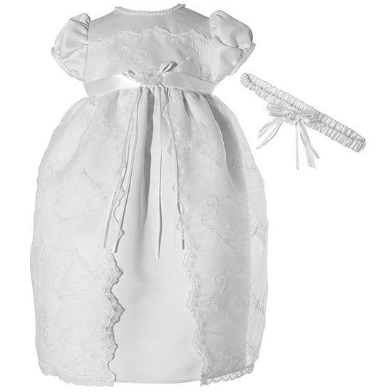 Keepsake Christening Girls Short Sleeve Cap Sleeve Babydoll Dress - Baby