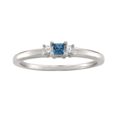 Modern Bride Gemstone Womens 1/4 CT. T.W. Princess Blue Sapphire 14K Gold 3-Stone Ring